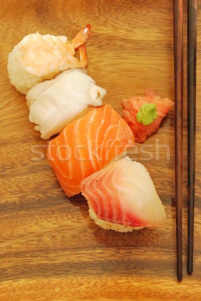 Sushi yemek somon kılıçbalığı karides gıda Stok fotoğraf © luissantos84