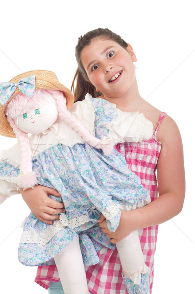 Bambina bambola gioioso prediletto isolato bianco Foto d'archivio © luissantos84