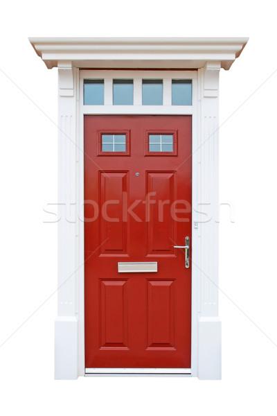 Britânico casa porta vermelho isolado Foto stock © luissantos84