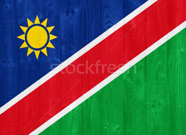 Namibya bayrak boyalı ahşap Stok fotoğraf © luissantos84