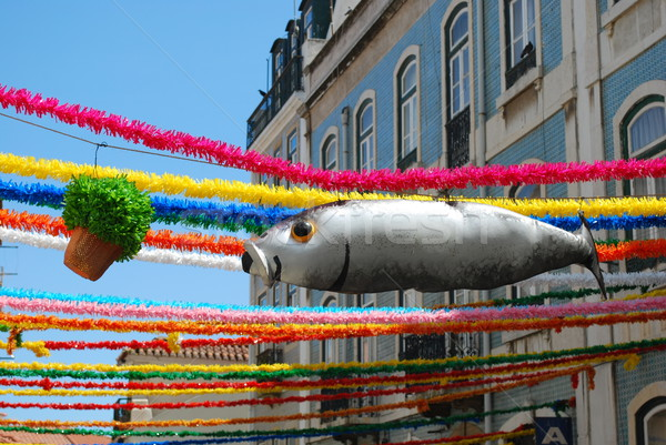 Sardine and Sweet Basil on Feast Days of the Popular Saints in Lisbon Stock photo © luissantos84