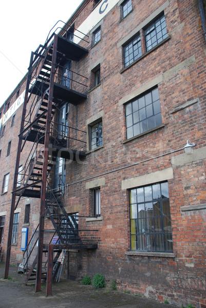 火災 脱出 階段 さびた 古い レンガの壁 ストックフォト © luissantos84