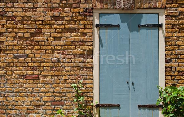Antichi porta blu muro di mattoni casa Foto d'archivio © luissantos84