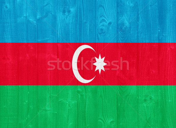 Azerbaiyán bandera pintado madera Foto stock © luissantos84