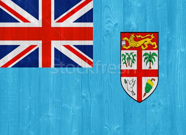 Fiji vlag prachtig geschilderd hout plank Stockfoto © luissantos84