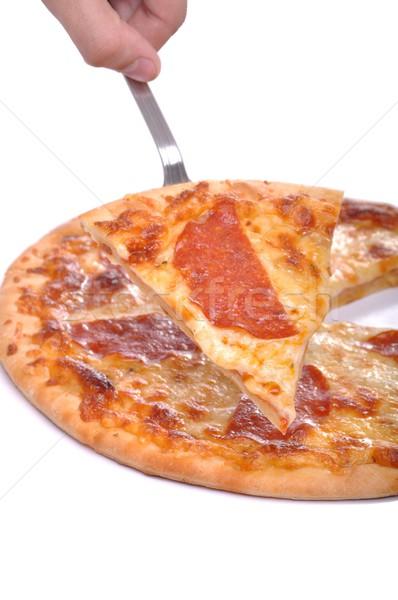ペパロニ ピザ 務め 孤立した 白 ストックフォト © luissantos84