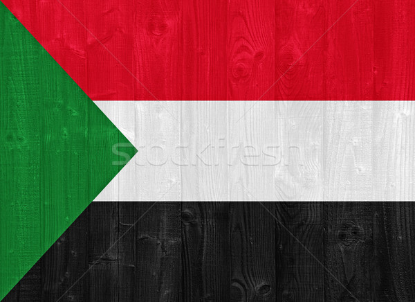 Soedan vlag prachtig geschilderd hout plank Stockfoto © luissantos84