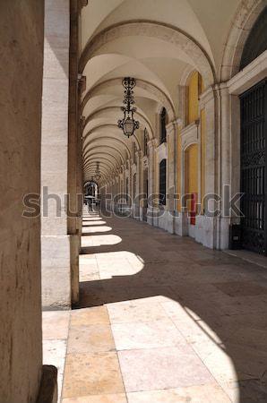 Commerce square arcades in Lisbon Stock photo © luissantos84