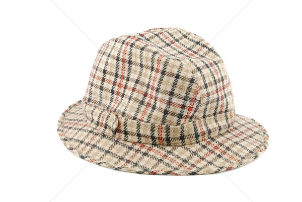 Checked brown hat on white Stock photo © luissantos84