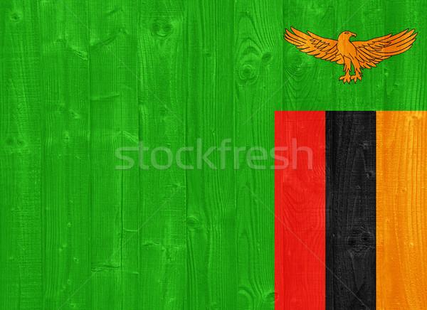 Zambia zászló káprázatos festett fa palánk Stock fotó © luissantos84