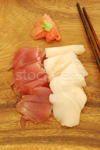 Sashimi yemek ton balığı bas sushi Çin yemek çubukları Stok fotoğraf © luissantos84