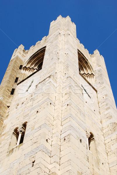 Kathedraal stad Lissabon gebouw achtergrond Blauw Stockfoto © luissantos84