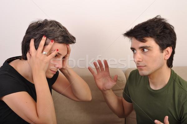 Lánytestvér fivér veszekedik mérges család kéz Stock fotó © luissantos84