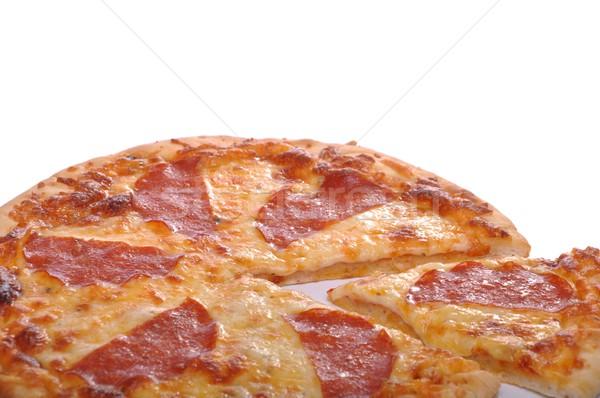 Pepperoni pizza aislado blanco alimentos rojo Foto stock © luissantos84