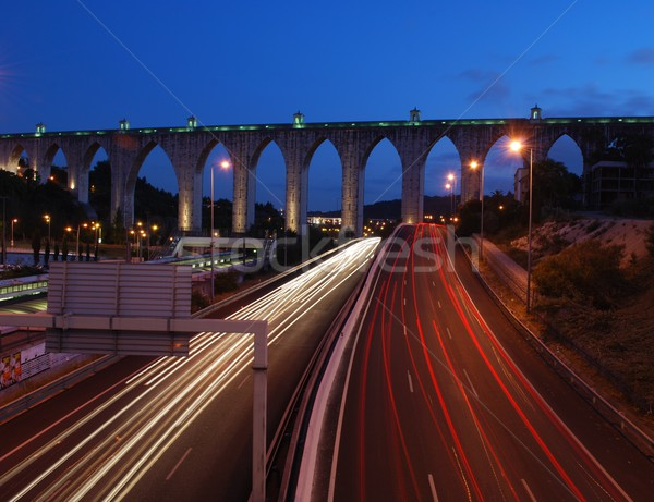 Aqueduct of the Free Waters in Lisbon (car motion) Stock photo © luissantos84