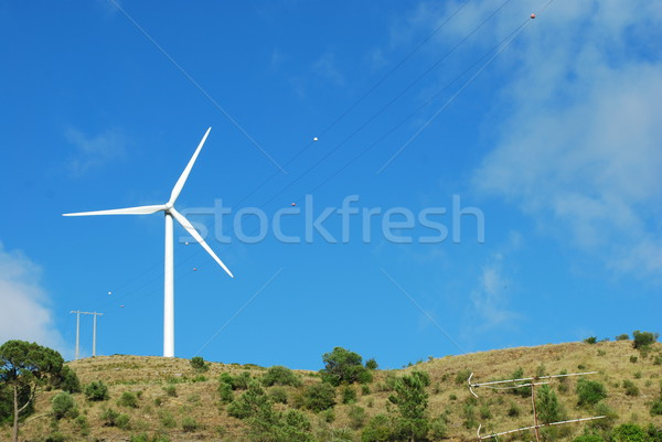 Wind turbine on the top of a mountain Stock photo © luissantos84