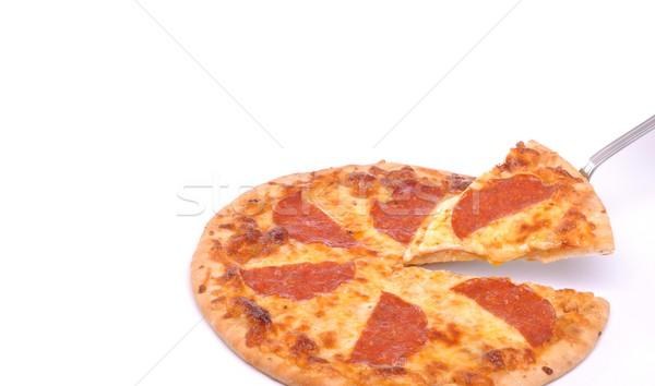 Pepperoni pizza servi isolé blanche Photo stock © luissantos84