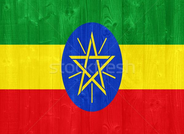 Эфиопия флаг великолепный окрашенный древесины доска Сток-фото © luissantos84