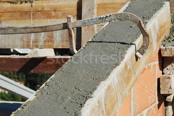 フレームワーク 屋根 家 建設 セメント レンガの壁 ストックフォト © luissantos84
