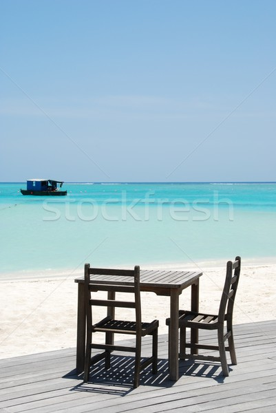 Beautiful beach bar view in Maldives Stock photo © luissantos84