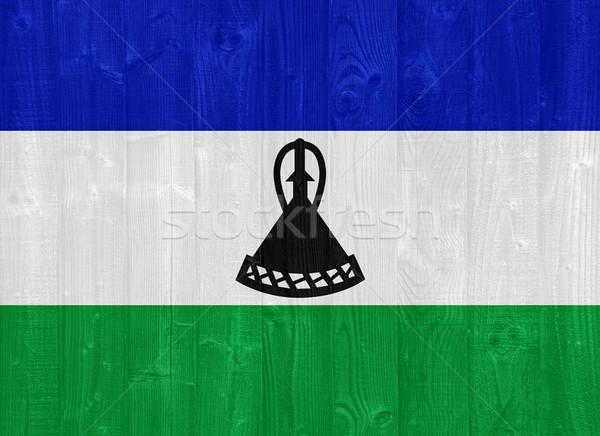 Лесото флаг великолепный окрашенный древесины доска Сток-фото © luissantos84