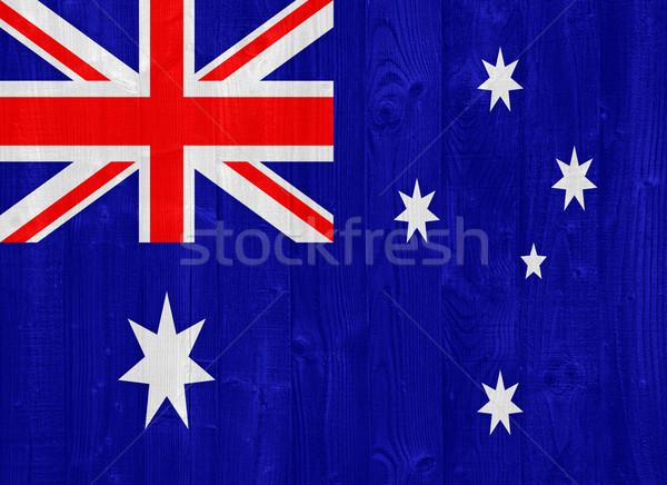 Австралия флаг великолепный окрашенный древесины доска Сток-фото © luissantos84