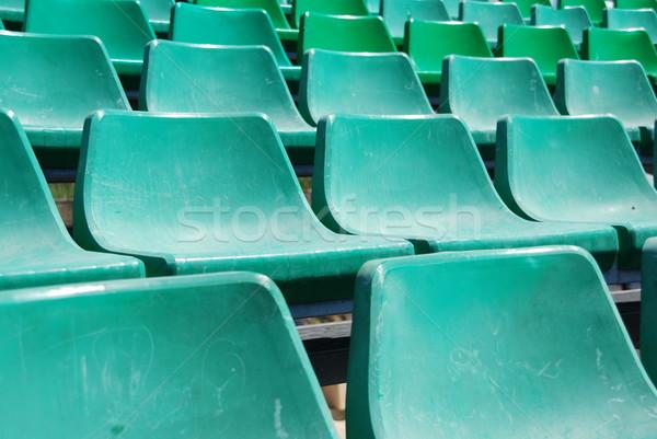 Stock photo: Stadium green seats