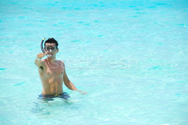 Thumbs up for snorkeling experience Stock photo © luissantos84