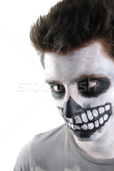 Effrayant squelette Guy carnaval visage peinture Photo stock © luissantos84