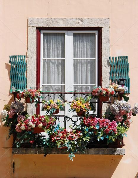 Лиссабон балкона типичный жилой окна здании Сток-фото © luissantos84