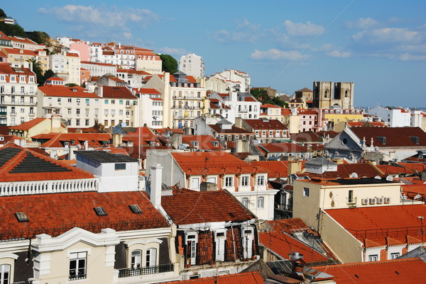 Lisbon cityscape with Se Cathedral Stock photo © luissantos84
