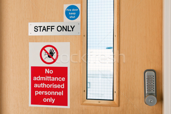 Staff only signs at laboratory Stock photo © luissantos84