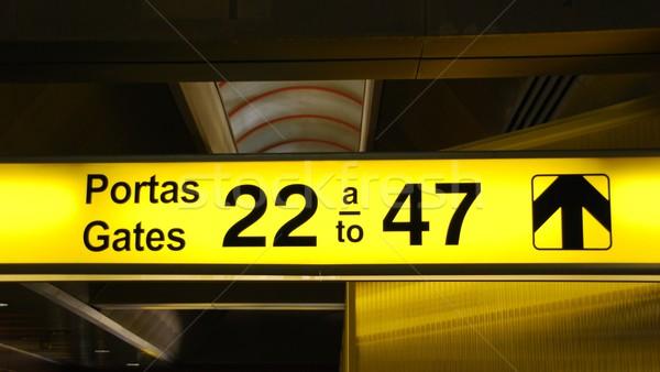 Kalkış imzalamak sarı uluslararası havaalanı seyahat Stok fotoğraf © luissantos84