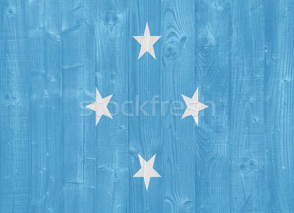 Micronésia bandeira pintado madeira Foto stock © luissantos84