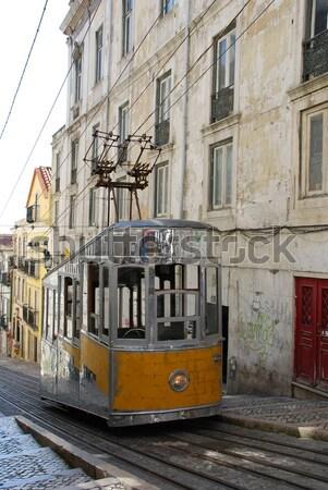 Windy tramwaj Lizbona Portugalia antyczne typowy Zdjęcia stock © luissantos84