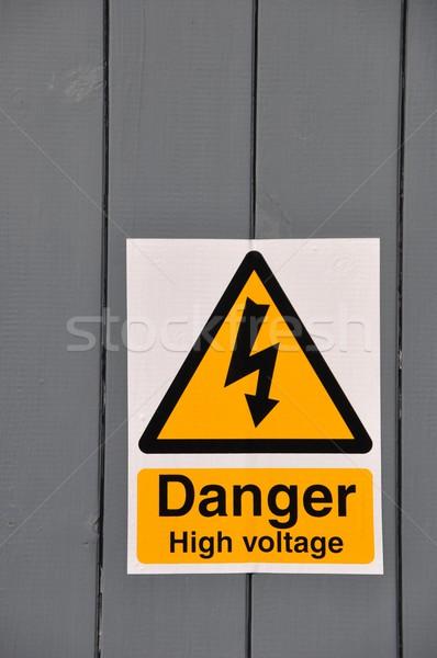 ストックフォト: 高電圧 · 危険標識 · 危険 · 黄色 · にログイン · 木製