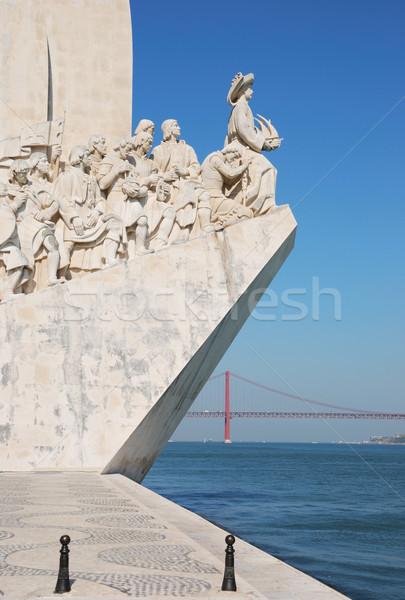 Lisbonne célèbre Portugal mer pont bleu Photo stock © luissantos84