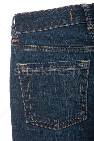 Сток-фото: джинсов · кармана · назад · изолированный · белый
