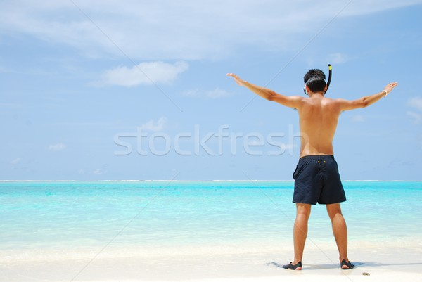 Young man ready to go snorkeling (wide open arms) Stock photo © luissantos84