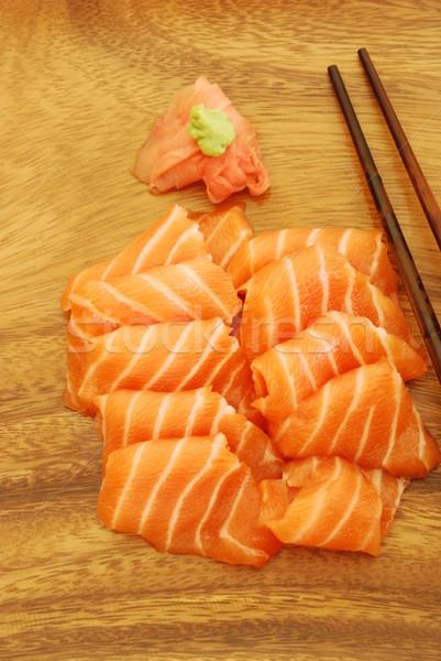 Sashimi repas saumon sushis baguettes alimentaire Photo stock © luissantos84