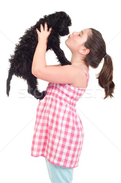 Meisje zoenen hond aanbiddelijk meisje geïsoleerd Stockfoto © luissantos84