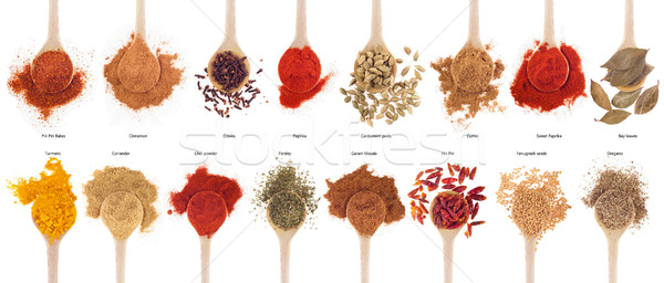Spices collection on spoons Stock photo © luissantos84