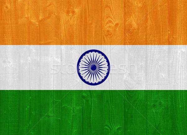 Foto stock: Índia · bandeira · pintado · madeira