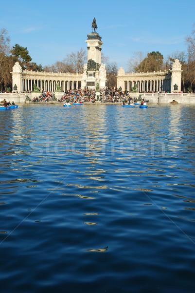 Park Madrid Spanje beroemd water Stockfoto © luissantos84