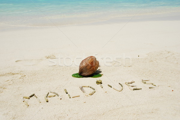Maldives written in a sandy tropical beach and coconut fruit Stock photo © luissantos84