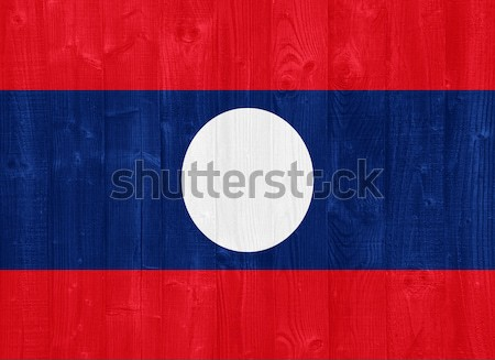 Laos vlag prachtig geschilderd hout plank Stockfoto © luissantos84