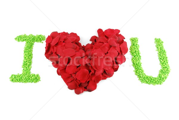 I LOVE U, Red heart made of rose petals for Valentine's Day Stock photo © luissantos84