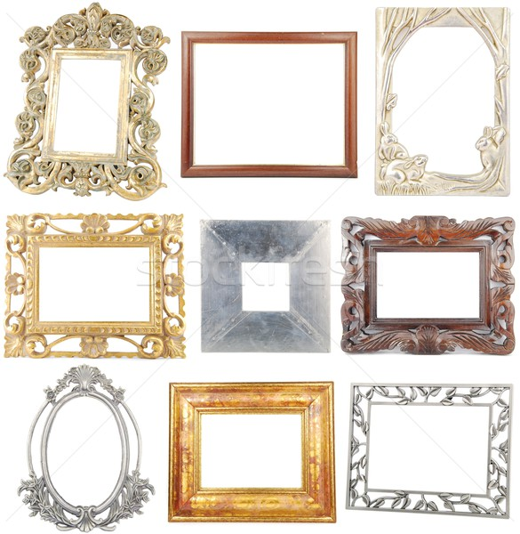 Collection of wooden and metallic frames on white Stock photo © luissantos84