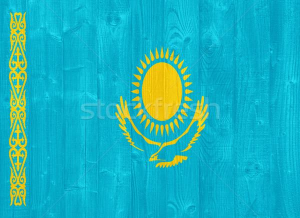 Kasachstan Flagge herrlich gemalt Holz Planke Stock foto © luissantos84