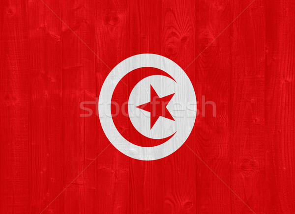 Тунис флаг великолепный окрашенный древесины доска Сток-фото © luissantos84